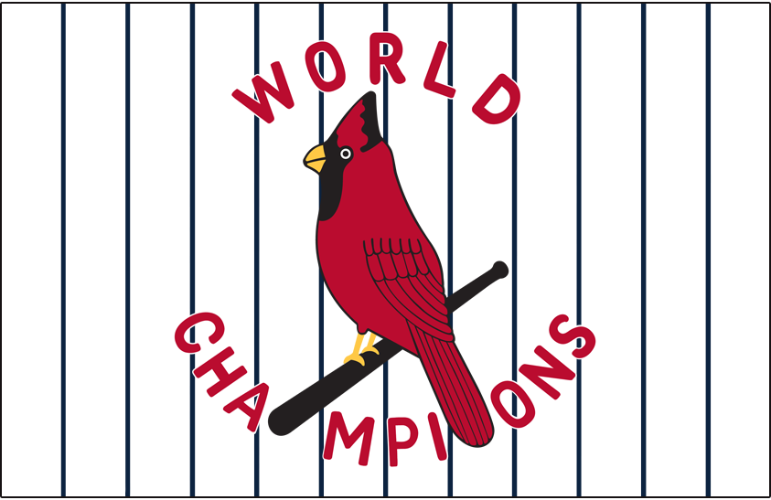 St. Louis Cardinals Logo Jersey Logo (1927) - WORLDS CHAMPIONS arched around a cardinal on a bat, worn on home jersey over pinstripes in 1927 SportsLogos.Net