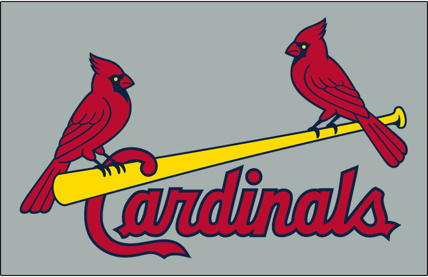 St. Louis Cardinals Logo Jersey Logo (1998) - Two cardinals perched on a yellow bat with team name scripted below in red, worn on road jersey SportsLogos.Net