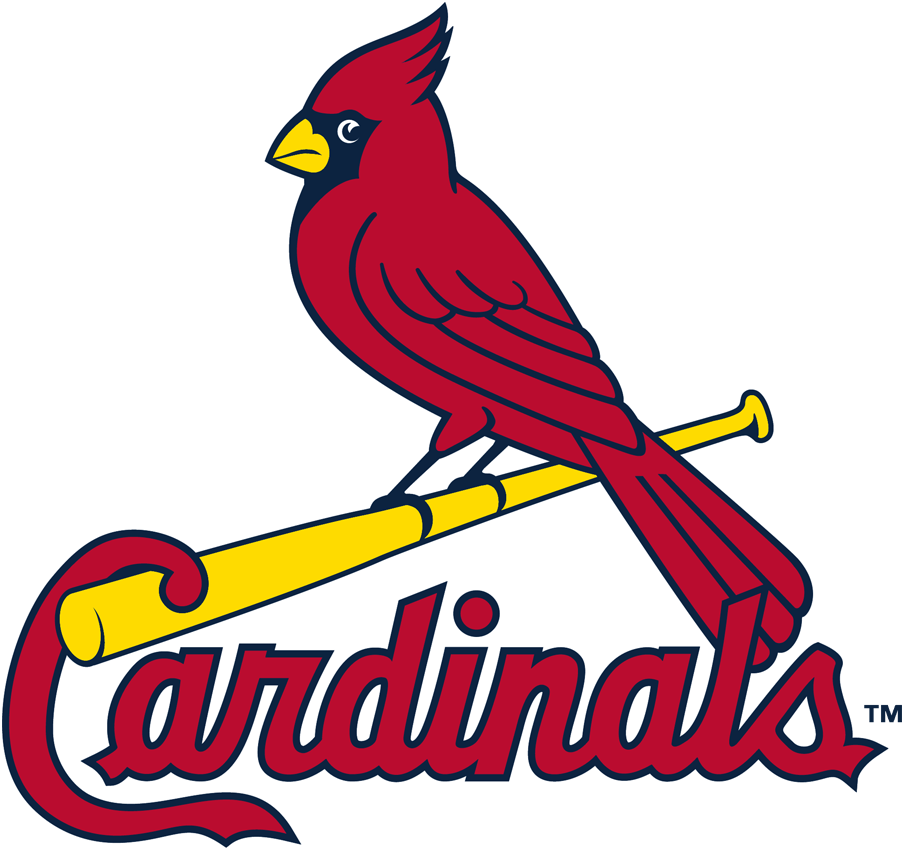 St. Louis Cardinals Logo Primary Logo (1999-Pres) - A cardinal perched on a yellow bat over Cardinals script in red SportsLogos.Net