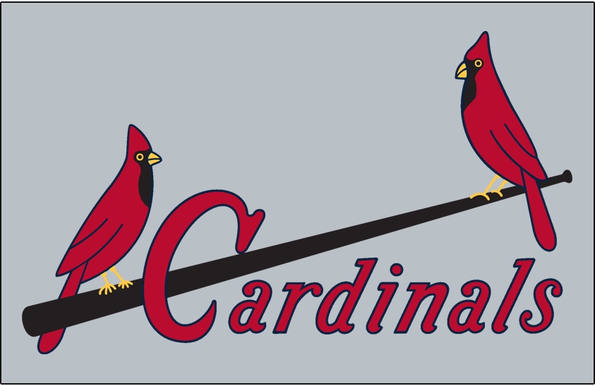 St. Louis Cardinals Logo Jersey Logo (1949-1950) - Two cardinals perched on a black bat with Cardinals scripted below in red, worn on road jersey SportsLogos.Net