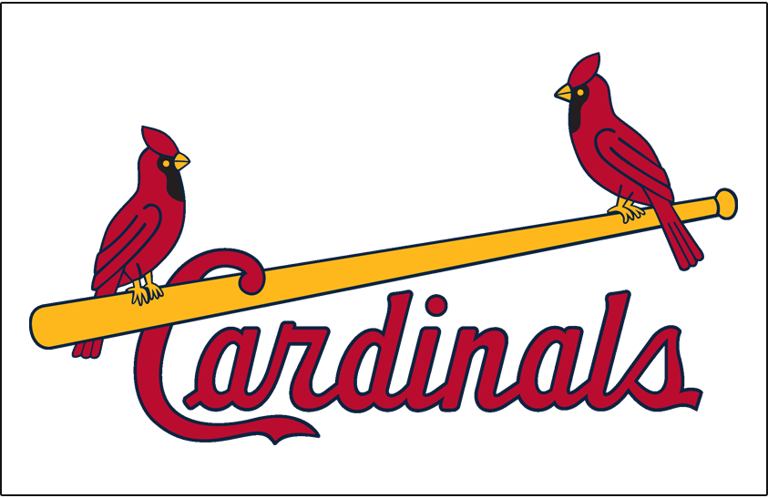 St. Louis Cardinals Logo Jersey Logo (1957-1965) - Two cardinals perched on a yellow bat with team name scripted below in red, worn on home jersey SportsLogos.Net