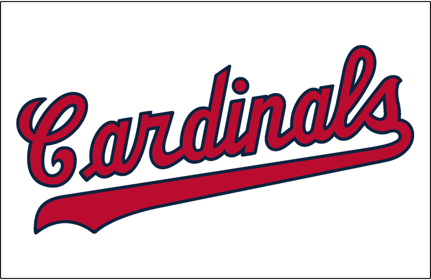 St. Louis Cardinals Logo Jersey Logo (1956) - Cardinals scripted in red and blue, worn on Cardinals home jersey SportsLogos.Net