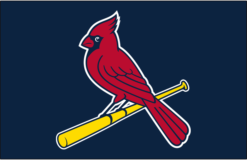 St. Louis Cardinals Logo Cap Logo (1998) - Cardinal perched on a bat, colour of beak changed to gold in 1999 SportsLogos.Net
