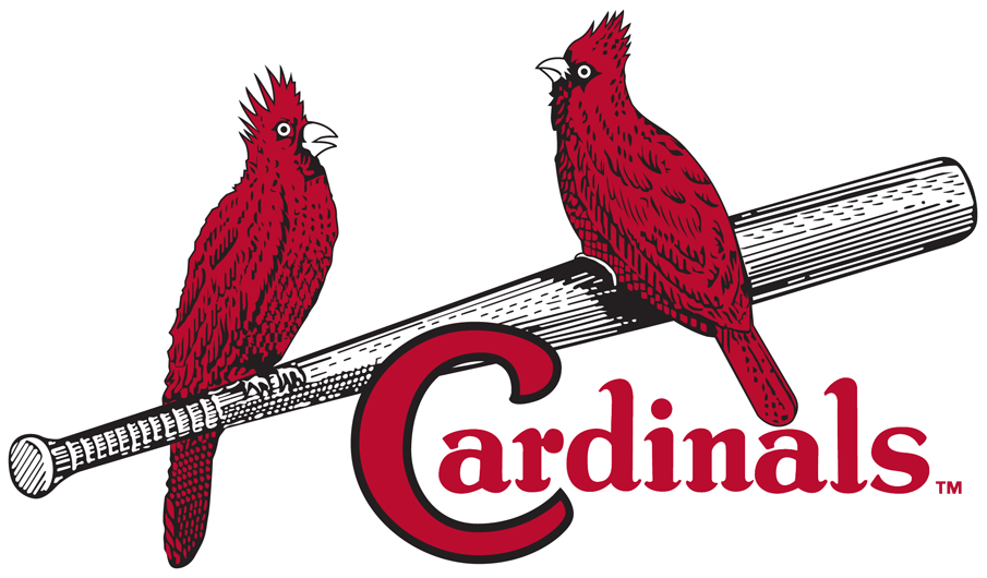 St. Louis Cardinals Logo Primary Logo (1927-1947) - Two red cardinals perched on a silver bat, team name scripted below in red SportsLogos.Net