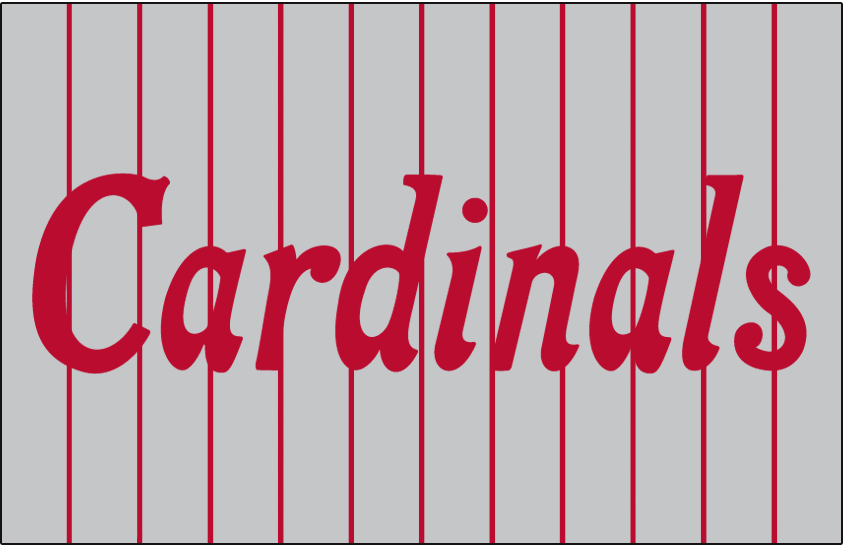St. Louis Cardinals Logo Jersey Logo (1918-1919) - Cardinals scripted in red on grey with red pinstripes, worn on road jersey SportsLogos.Net