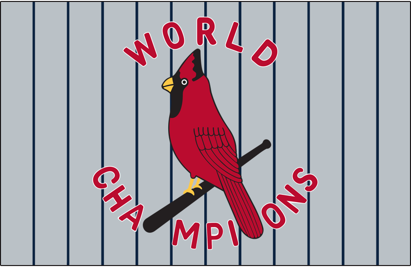 St. Louis Cardinals Logo Jersey Logo (1927) - WORLDS CHAMPIONS arched around a cardinal on a bat, worn on road grey jersey over pinstripes in 1927 SportsLogos.Net
