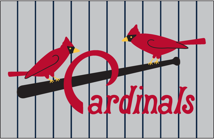 St. Louis Cardinals Logo Jersey Logo (1924-1926) - Two cardinals perched on a black bat with team name scripted below in red on grey jersey with pinstripes, worn on road jersey with numerous small tweaks made from year to year SportsLogos.Net