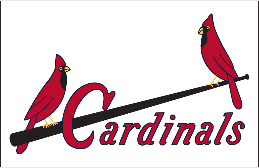 St. Louis Cardinals Logo Jersey Logo (1949-1950) - Two cardinals perched on a black bat with Cardinals scripted below in red, worn on home jersey SportsLogos.Net