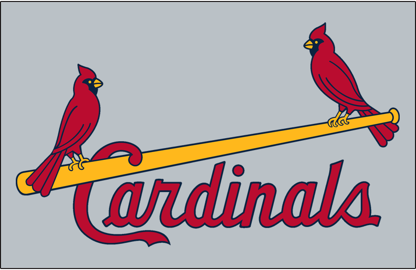 St. Louis Cardinals Logo Jersey Logo (1985-1997) - Two cardinals perched on a yellow bat with team name scripted below in red, worn on road jersey SportsLogos.Net