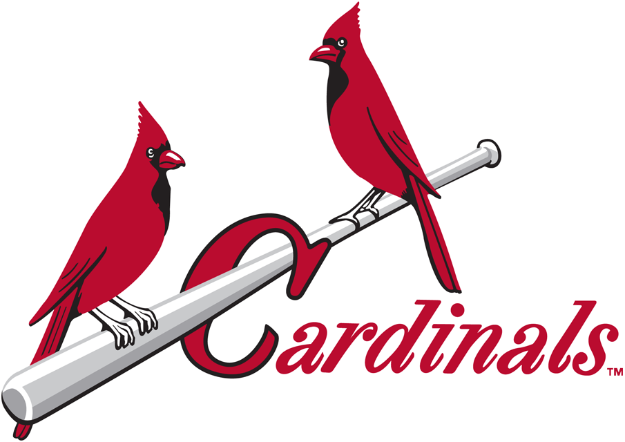 St. Louis Cardinals Logo Primary Logo (1948-1964) - Two red cardinals perched on a silver bat, team name scripted below in red SportsLogos.Net