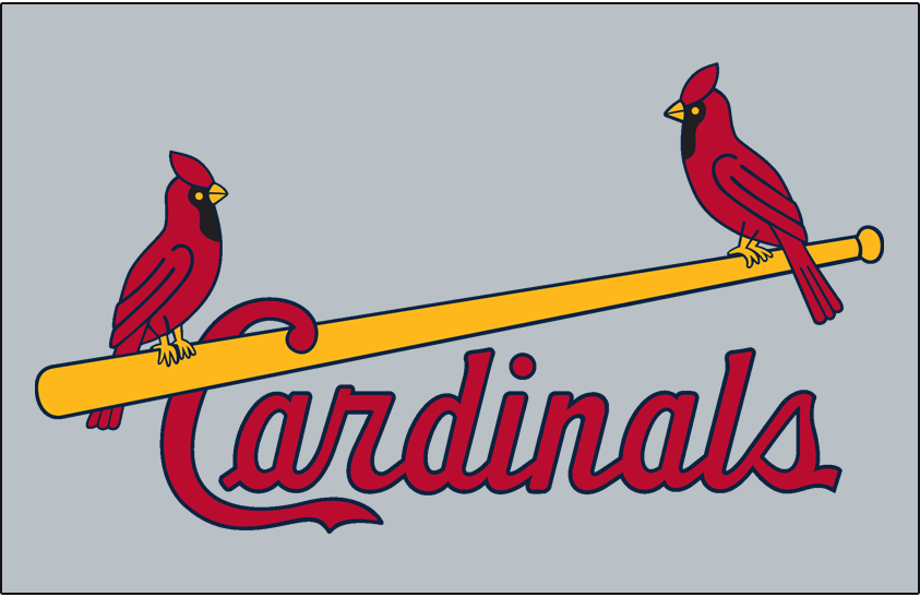 St. Louis Cardinals Logo Jersey Logo (1957-1965) - Two cardinals perched on a yellow bat with team name scripted below in red, worn on road jersey SportsLogos.Net