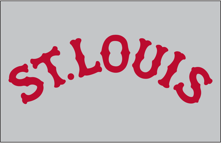 St. Louis Cardinals Logo Jersey Logo (1920-1921) - ST LOUIS arched in red, worn on Cardinals road jerseys in 1920 and 1921 SportsLogos.Net