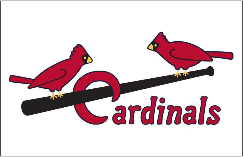 St. Louis Cardinals Logo Jersey Logo (1936-1948) - Two cardinals perched on a black bat with Cardinals scripted below in red, worn on home jersey SportsLogos.Net