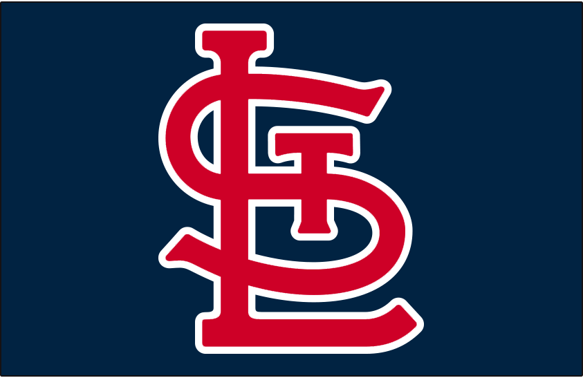 St. Louis Cardinals Logo Cap Logo (2020-Pres) - STL in red and white on a navy blue cap, worn as St Louis Cardinals primary alternate road cap starting in 2020. SportsLogos.Net