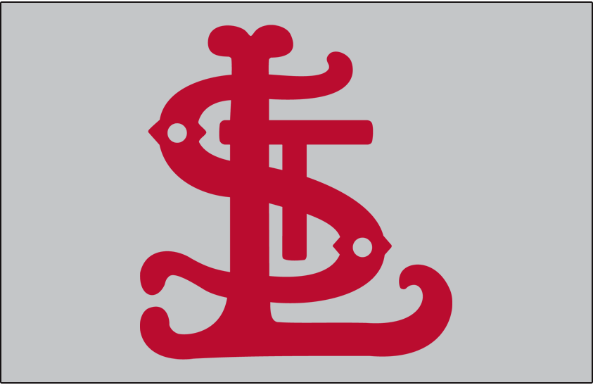 St. Louis Cardinals Logo Cap Logo (1906) - Red STL on grey, worn road only in 1906 SportsLogos.Net