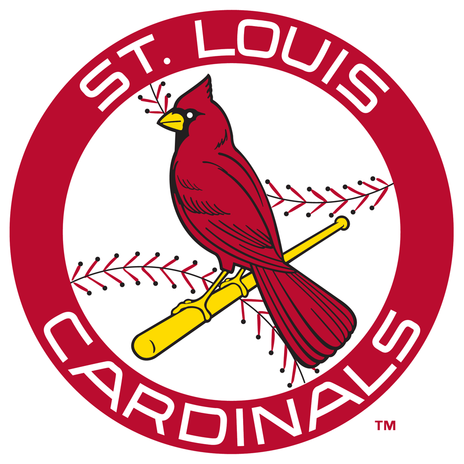St. Louis Cardinals Logo Primary Logo (1965) - Cardinal perched on a bat inside a red circle with a baseball pattern inside, team name around in white SportsLogos.Net