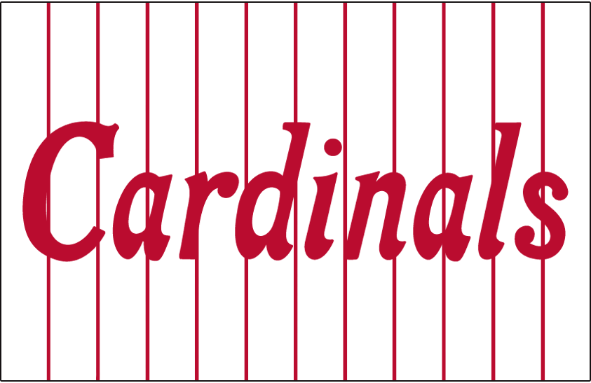 St. Louis Cardinals Logo Jersey Logo (1918-1919) - Cardinals scripted in red on white with red pinstripes, worn on home jersey SportsLogos.Net