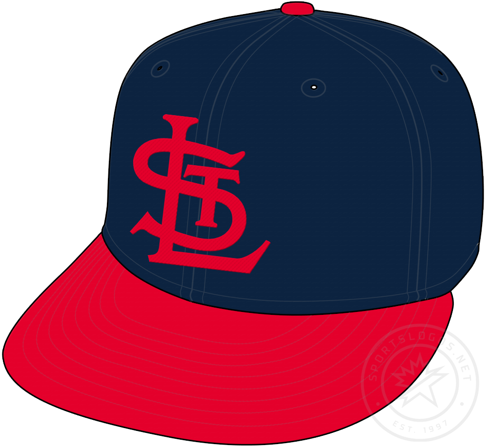St. Louis Cardinals Cap Cap (1940-1955) - STL in red on a blue crown with red visor and pill, worn as home and road cap by Cardinals from 1940 to 1955 SportsLogos.Net