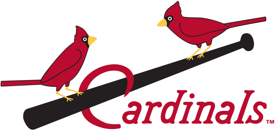 St. Louis Cardinals Logo Primary Logo (1922-1926) - Two cardinals perched on a black bat between script in red SportsLogos.Net