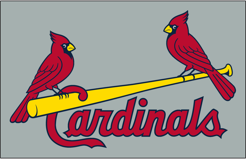 St. Louis Cardinals Logo Jersey Logo (1999-Pres) - (Road) Two cardinals perched on a yellow bat between Cardinals script in red on grey SportsLogos.Net
