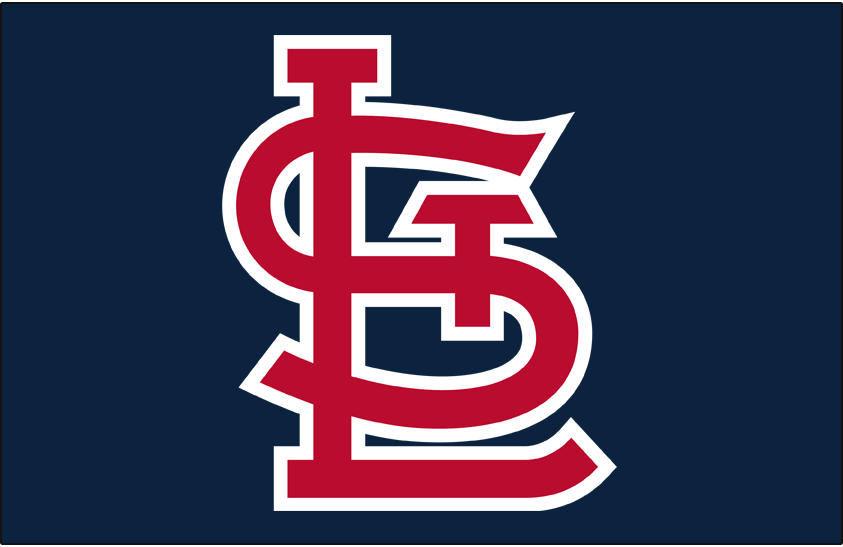 St. Louis Cardinals Logo Cap Logo (1992-2019) - STL in red with white outline on navy SportsLogos.Net