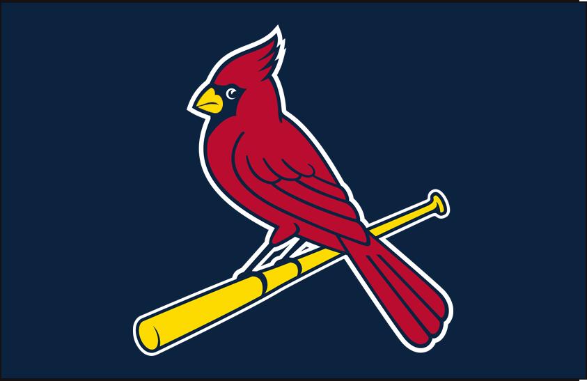 St. Louis Cardinals Logo Cap Logo (1999-Pres) - A cardinal perched on a yellow bat on navy SportsLogos.Net