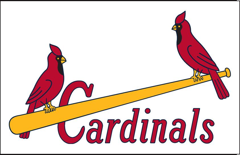 St. Louis Cardinals Logo Jersey Logo (1951-1955) - (Home) Two cardinals on a yellow baseball bat with Cardinals written in red below SportsLogos.Net