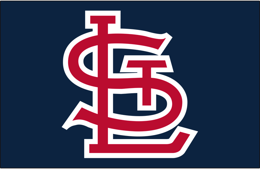 St. Louis Cardinals Logo Cap Logo (1956-1964) - STL in red with white outline on navy SportsLogos.Net