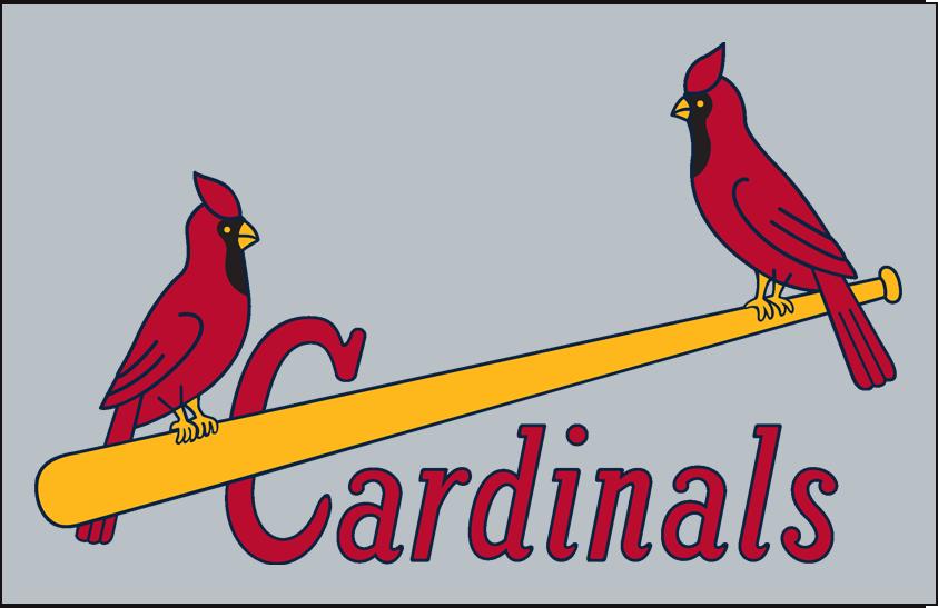 St. Louis Cardinals Logo Jersey Logo (1951-1955) - (Road) Two cardinals on a yellow baseball bat with Cardinals written in red below on grey SportsLogos.Net