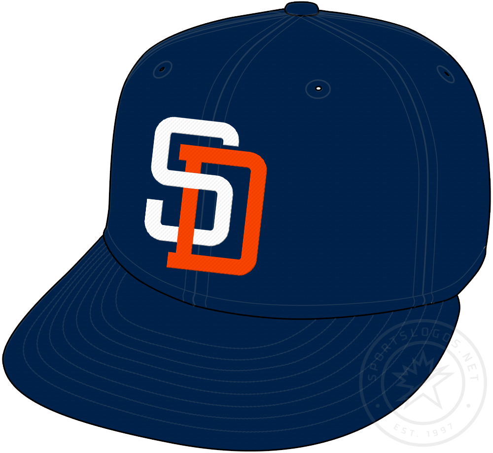 San Diego Padres Cap Cap (1991-2003) - Navy blue cap with SD in white and orange, worn as Padres primary home and road cap from 1991 to 2003 SportsLogos.Net