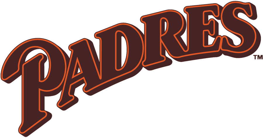 San Diego Padres Logo Primary Logo (1986-1989) - Padres script sloped in brown with orange outline  SportsLogos.Net