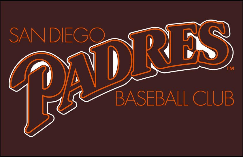 San Diego Padres Logo Primary Dark Logo (1985) - San Diego Padres primary logo on brown SportsLogos.Net