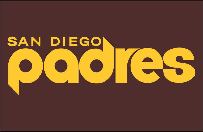 San Diego Padres Logo Jersey Logo (1978) - Padres in yellow, San Diego above, on a brown jersey. Worn on Padres road uniform in 1978 only SportsLogos.Net