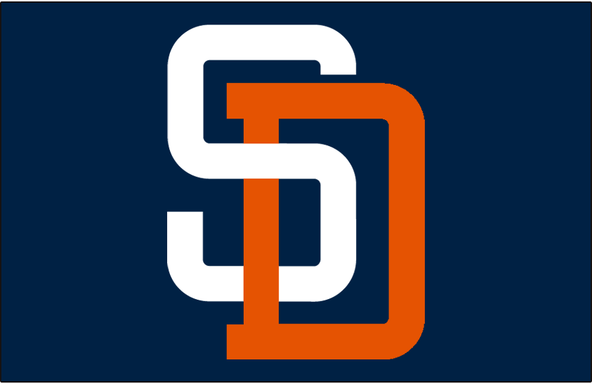 San Diego Padres Logo Cap Logo (1991-2003) - White S interlocked with orange D on navy SportsLogos.Net