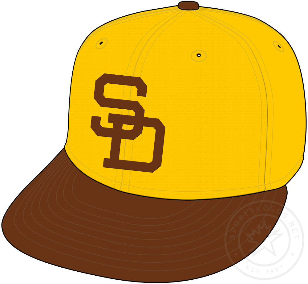 San Diego Padres Cap Cap (1971) - Gold cap with SD on front in brown. Worn as Padres primary road cap in 1971 SportsLogos.Net