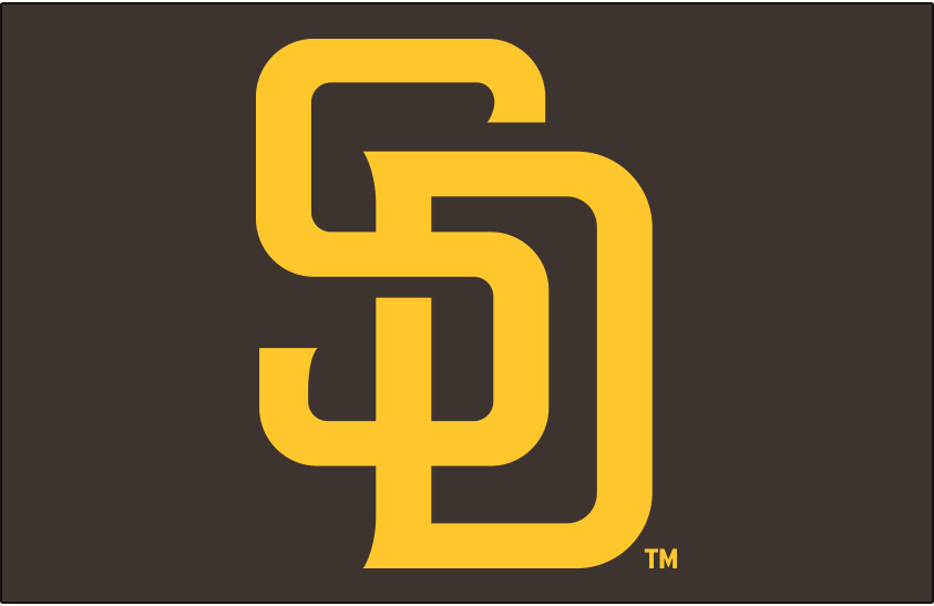 San Diego Padres Logo Primary Dark Logo (2020-Pres) - San Diego Padres primary logo on a dark background - gold SD on brown SportsLogos.Net