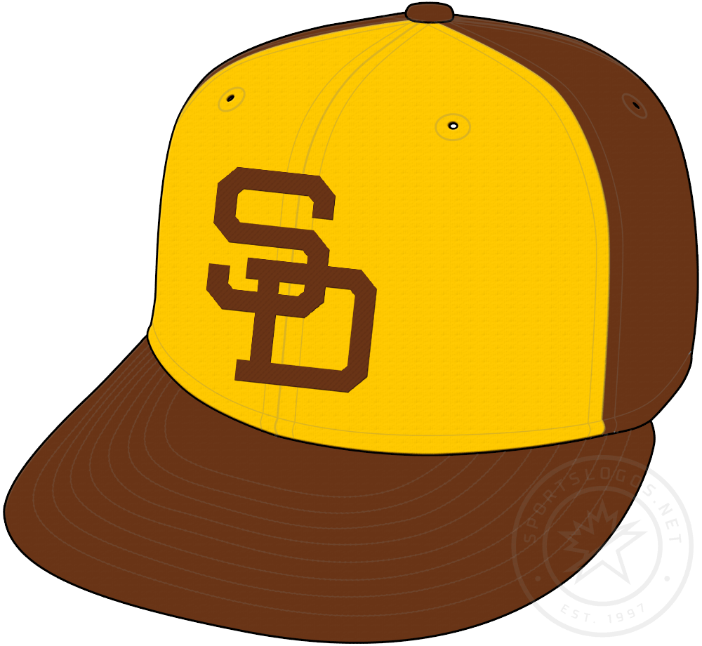 San Diego Padres Cap Cap (1972-1979) - Brown cap with gold front panel, SD on front in brown. Worn as Padres primary home and road cap from 1973 to 1979, alternate cap in 1972 SportsLogos.Net