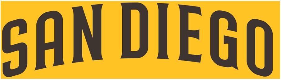 San Diego Padres Logo Wordmark Logo (2020-Pres) - SAN DIEGO arched in brown trimmed in gold SportsLogos.Net