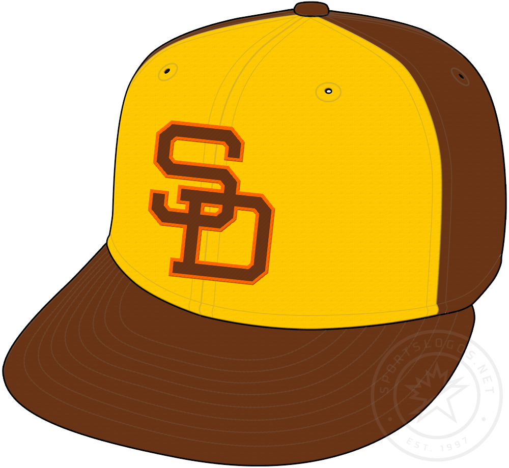 San Diego Padres Cap Cap (1980-1984) - Brown cap with gold front panel, SD on front in brown and orange. Worn as Padres primary home and road cap from 1980 to 1984 SportsLogos.Net
