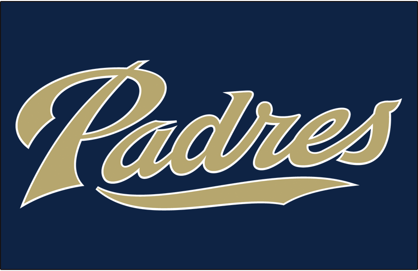 San Diego Padres Logo Jersey Logo (2004-2011) - (Alt from 2004-2011 / BP from 2008-2015) Padres with a wave underneath in sand with white outlines on navy SportsLogos.Net