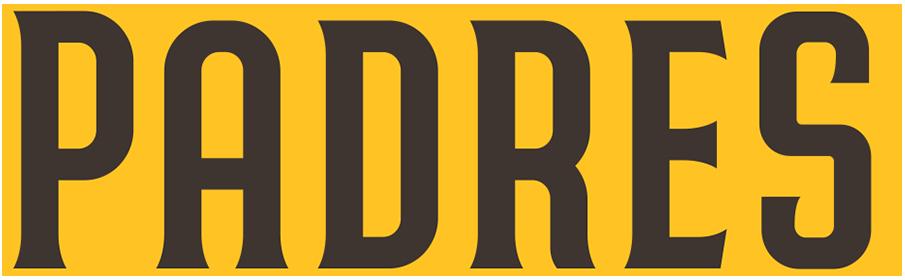 San Diego Padres Logo Wordmark Logo (2020-Pres) - PADRES presented straight in brown trimmed in gold SportsLogos.Net