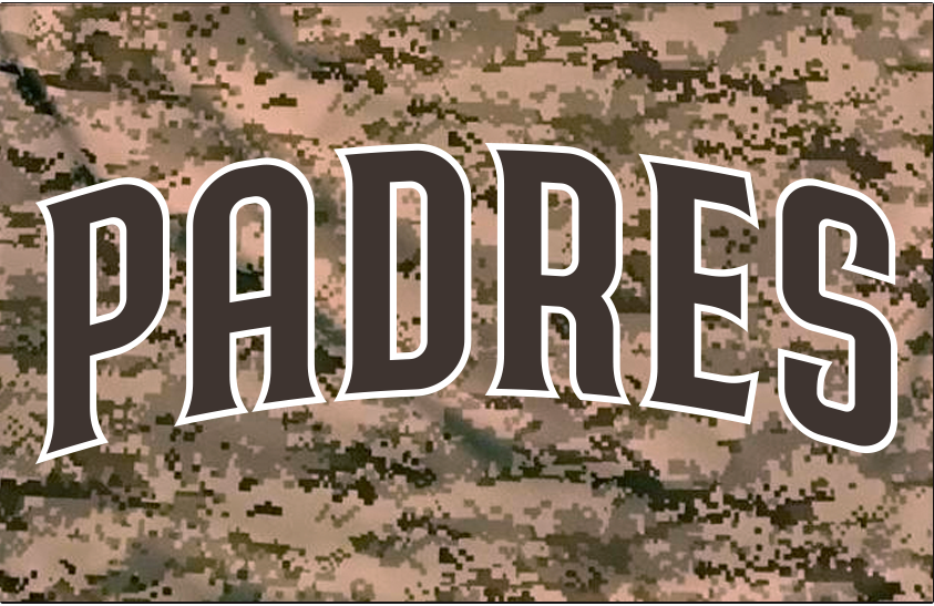 San Diego Padres Logo Jersey Logo (2020-Pres) - PADRES arched in brown trimmed in white, worn on a brown camouflage jersey as the Padres alternate home U.S. Marines camo uniform beginning in 2020 SportsLogos.Net