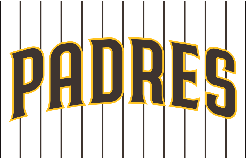 San Diego Padres Logo Jersey Logo (2020-Pres) - PADRES arched in brown trimmed in gold, worn on a white jersey with brown pinstripes as the Padres home uniform beginning in 2020 SportsLogos.Net