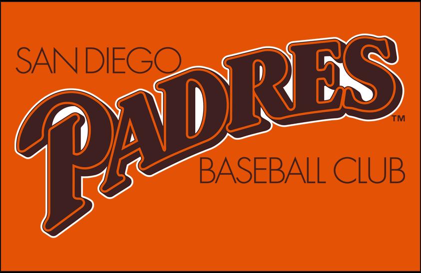 San Diego Padres Logo Primary Dark Logo (1985) - San Diego Padres primary logo on orange SportsLogos.Net