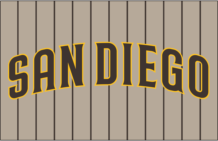 San Diego Padres Logo Jersey Logo (2020-Pres) - SAN DIEGO arched in brown trimmed in gold, worn on a sand jersey with brown pinstripes as the Padres alternate road uniform beginning in 2020 SportsLogos.Net