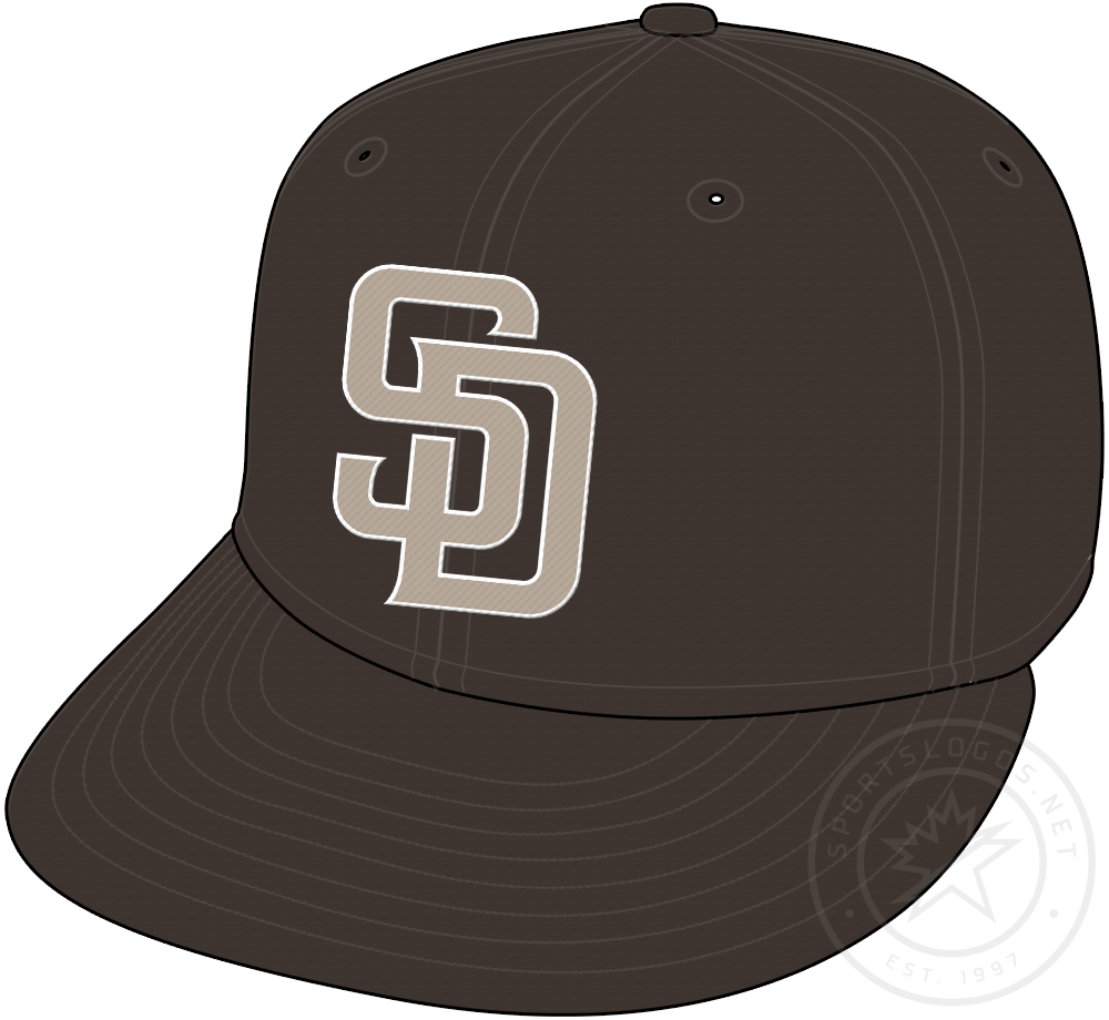 San Diego Padres Cap Cap (2020-Pres) - Brown cap with tan SD on front, worn with Padres camoflague uniforms starting in 2020 season SportsLogos.Net