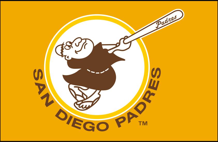 San Diego Padres Logo Primary Dark Logo (1972-1973) - San Diego Padres primary logo on gold SportsLogos.Net