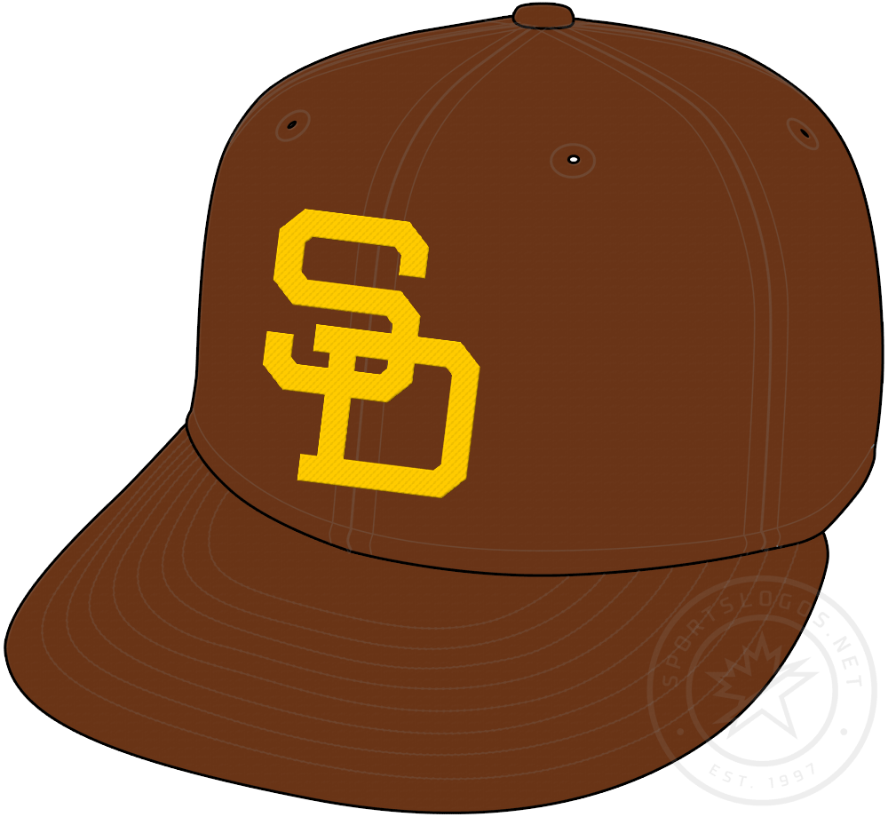 San Diego Padres Cap Cap (1969-1972) - Brown cap with SD on front in gold. Worn as Padres primary home and road cap from 1969 to 1972 SportsLogos.Net