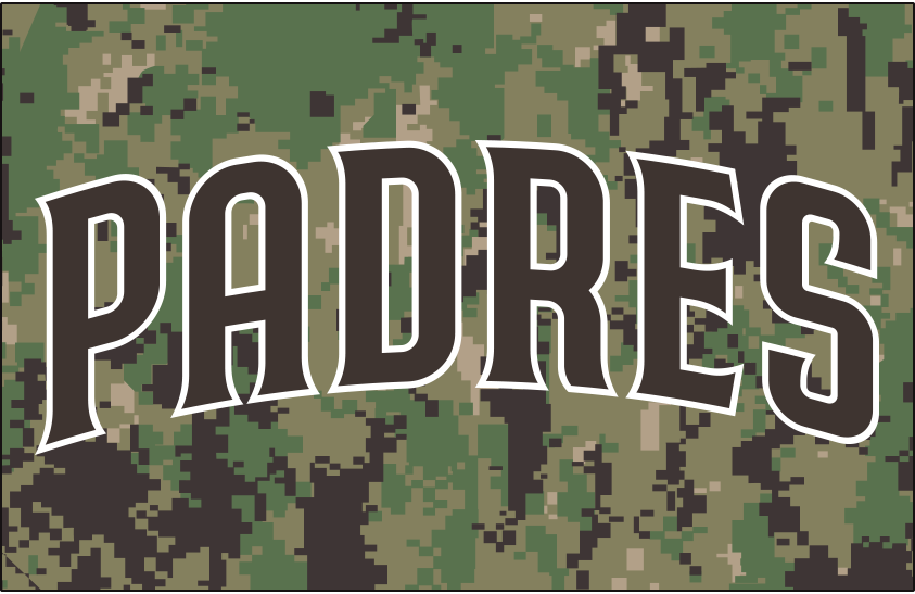San Diego Padres Logo Jersey Logo (2020-Pres) - PADRES arched in brown trimmed in white, worn on a green camouflage jersey as the Padres alternate home U.S. Navy camo uniform beginning in 2020 SportsLogos.Net