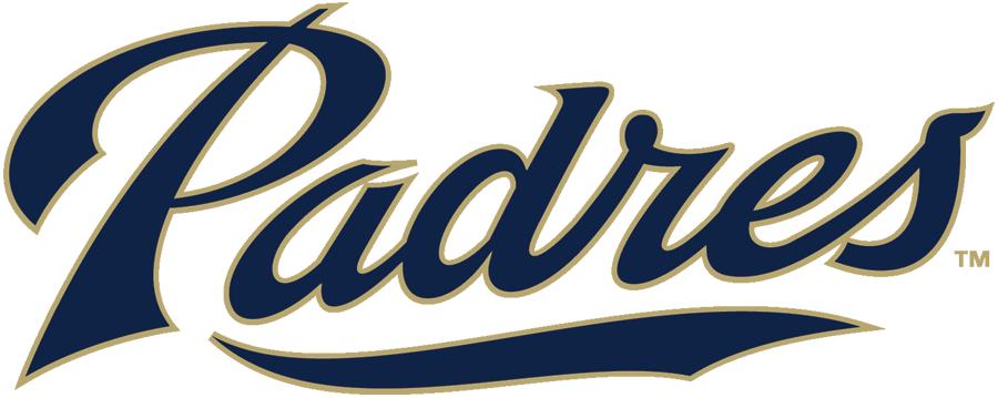 San Diego Padres Logo Alternate Logo (2012-2015) - Padres in blue and khaki script SportsLogos.Net
